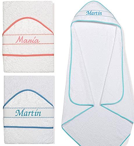 Capa de baño Bordada Personalizada bebé, 100 % algodón, Nacimiento, babyshower o bebé, Toalla de baño con Capucha para bebé, Toalla de baño