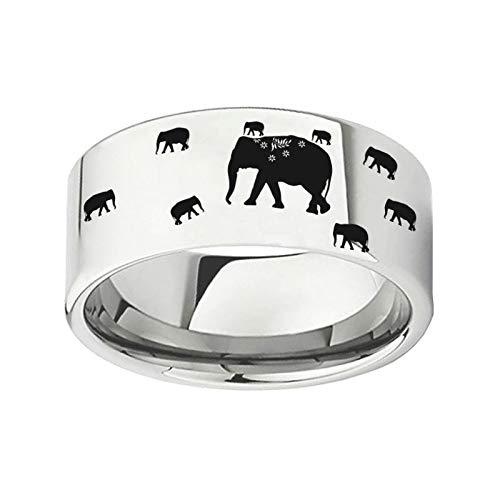 Ring mannen en vrouwen titanium staal creatief olifant patroon paar staart ring kostuum accessoires vakantie cadeau eenvoudig wild No11 ZILVER