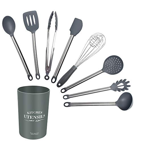 xingxing 9-teiliges Silikon-Küchenutensilien-Set mit Edelstahlgriff, Küchenutensilien, Schaufel, Kochgeschirr-Set mit Aufbewahrungsbox (Farbe: grau, 9 Stück)