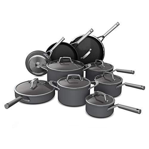 Ninja C39900 Foodi NeverStick Premium HardAnodized 16Piece Cookware Set slate grey