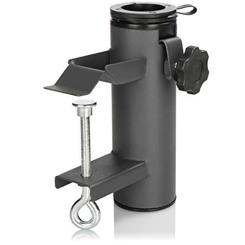 com-four® Sonnenschirmhalter, Schirmständer für Balkon, Terrasse oder Tisch - Für Schirmstöcke 22-49 mm und Platten-/Geländerstärken bis 60 mm