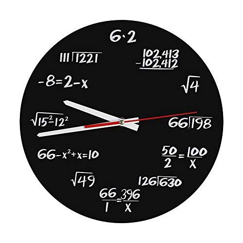 Kit de Reloj de Pared Grande DIY Moderno Reloj de Pared de acrílico Diseño Moderno matemático para la Oficina en el hogar Sala de Estudio en el Aula Decoración Accesorios Regalo para Amigos o niños