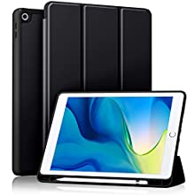 Akkerds Case Compatible with iPad 10.2 2020 iPad 8th Gen/2019 iPad 7th Gen with Pencil Holder, Protective Case with Soft TPU Back, Auto Sleep/Wake Cover Compatible for iPad 8th/7th Gen, Black