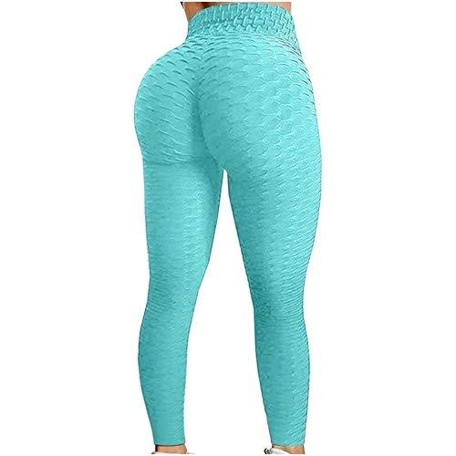 Pantalones de Yoga para Mujer Levantamiento de Glúteos Color Sólido Burbuja Deportes Fitness Leggings Yogalicious Pantalón Ajustado de Cintura Alta (Color : Light Blue, Size : M)