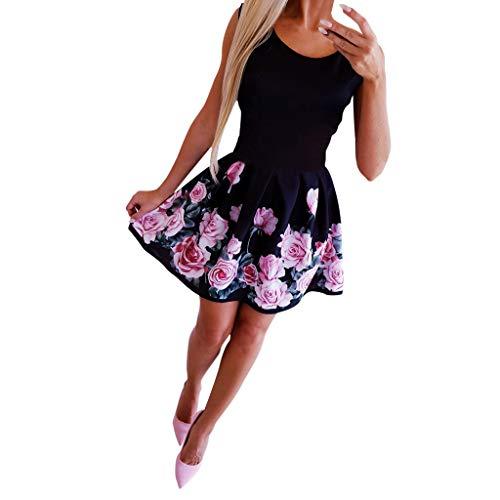 Kleider Sommer,Viahwyt Damen Schulterfrei Sommerkleid Minikleid Partykleid Cocktailkleid Ärmellos Freizeit Minirock Kurz Strandkleid Boho Kleid Mode Sexy Rundhals Rose Printed Kleid(Schwarz,L)