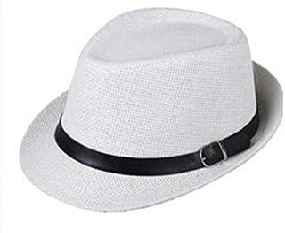Women Men Trendy Unisex Fedora Trilby Gangster Cap Summer Beach Sun Straw Panama Hat Sunhat Belt GH3115 White