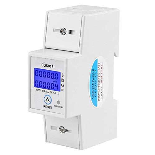 Compteur d Énergie Monophasé 5-80A 230V 50Hz Compteur d Énergie Monophasé de Rétroéclairage LCD, Compteur KWh Montage sur Rail DIN DDS015, Mètre Watt KWh(230V 5-80A 50Hz)