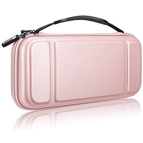 Fintie Carry Case for Nintendo Switch - [Shockproof] Hard Shell Protective Cover Travel Bag w/10 Game Card Slots, Inner Pocket for Nintendo Switch Console Joy-Con & Accessories, Rose Gold