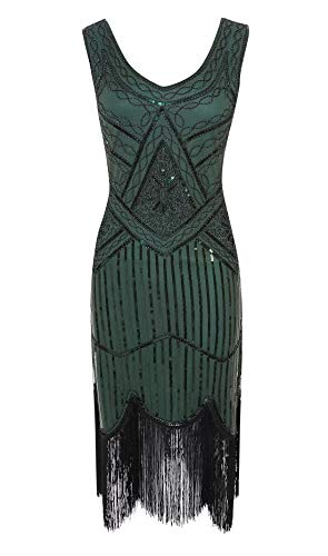 Viloree 1920 Pailletten verschönert Quasten Falten Flapper Damen Mini Kleid Party Gastby Motto Grün M
