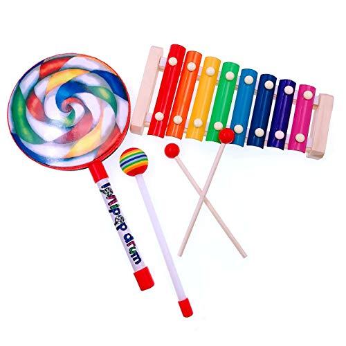 JZK Madera de xilófono 8 note y tambor mano lollipop con palo de madera, juguete Instrumento musical para ninos, regalo de cumpleaños navidad para niños bebés Infantil