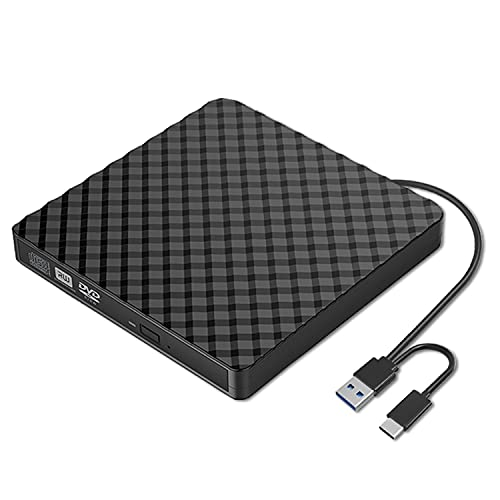 Externes CD DVD Laufwerk/Brenner USB 3.0 mit Type-C Tragbare CD DVD-/+RW Brenner und DVD/CD Lesegerät, Plug & Play /niedriger Lärm, Slim Superdrive für Laptop, Desktop, Mac, Macbook, OS, Windows/Linux