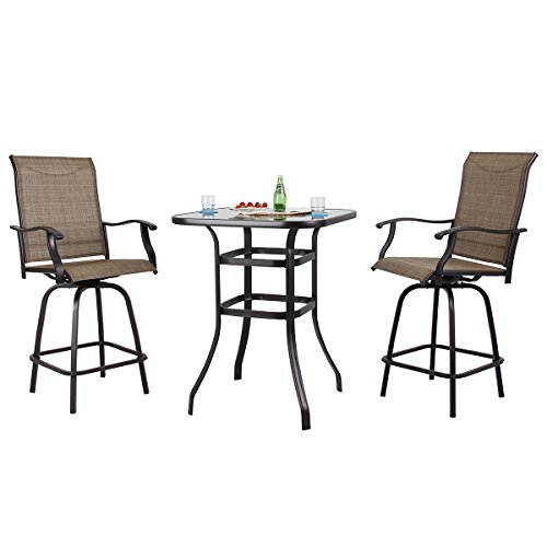PHI VILLA Patio 3 PC Swivel Bar Sets Textilene High Bistro Sets