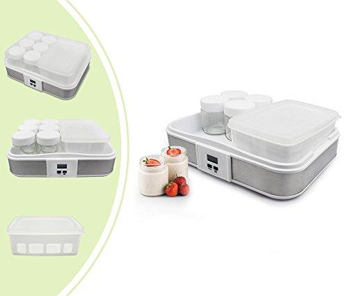 Leogreen - Yogurtera, Máquina para Yogur Natural y Saludable, tazón de yogur con colador y 6 tazas, con temporizador, 30,6 x 25 x 12,4 cm, Capacidad por frasco: 0,21 L, Capacidad del recipiente: 1,5 L