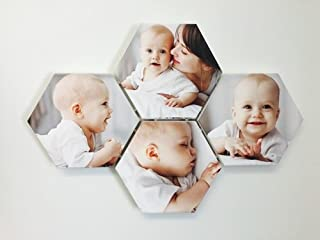 Hexagon Custom Photo Canvas, Your Pics On These Adorable Hex Canvas Gallery Wrapped Prints, Connect Several Together With Our Canvas Collage Clips (4 Hex Prints Glossy Finish)