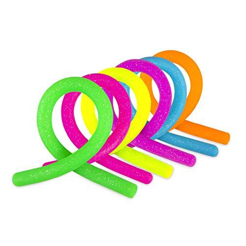 Trendhaus 404824 Anti-Stress Glitzer Powerschnur ⎜4 Bunte Fidget Stretch Toys⎜Sensorisches Spielzeug für Autismus, ADHS Erwachsene und Kinder⎜Stressabbau⎜Mitgebsel für Kindergeburtstag