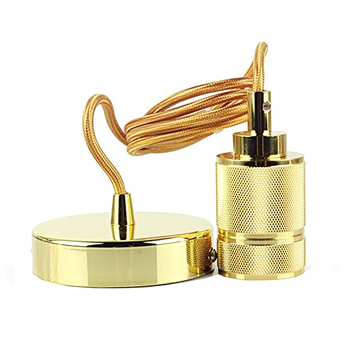 Metal E27 Portalámparas de metal Accesorios de Iluminación, Industrial Cable para Luz Lámpara del Techo, Accesorios de La Lámpara DIY con 100CM Cable (Oro)