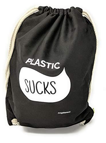 clapur Turnbeutel (schwarz) aus Bio Baumwolle, Gymbag mit Sprüchen, Sport-Beutel für Festival, Party, Herren, Hipster, weiße Schrift