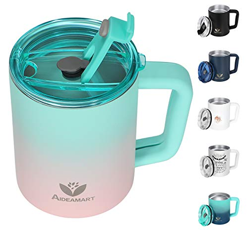 Insulated Coffee Mug, 14 Oz Stainless Steel Coffee Mug With Lid Handle & Soft Handle Cover, Double Wall Vacuum Insulated Coffee Mugs Spill Proof BPA-Free Travel Mug Tumbler For Hot Cold Drinks