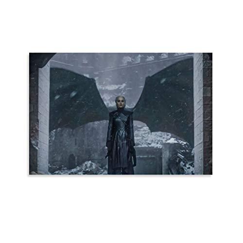 DRAGON VINES Juego de Tronos Daenerys Targaryen Madre de Dragones Plata Reina Póster e impresiones Decoraciones para decoración del hogar Living Comedor 20 x 30 cm
