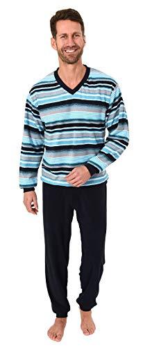 Toller Herren Frottee Pyjama Schlafanzug mit Bündchen - auch in Übergrössen - 281 101 93 704, Größe2:50, Farbe:blau
