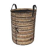 Cesto de ropa sucia plegable impermeable redondo,Antigua puerta de granero de madera envejecida con candado Vintage granja abandonada aldea rural oficina en casa,21.6'x16.5'