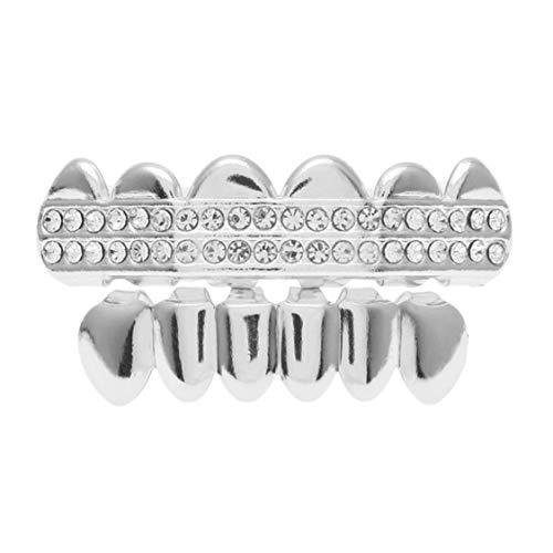 Hip Hop Bling Zähne Strasssteine 6 Zähne oben und unten Grill Zähne Kappen Cosplay Weihnachtsfeier Geschenk für Männer Frauen - Silber