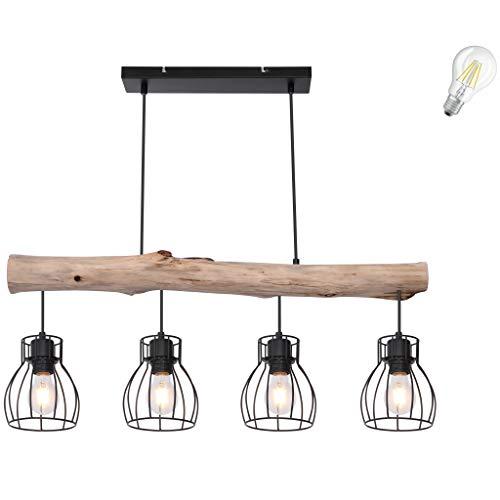 Pendelleuchte Retro Vintage Design LED Decken Holz Balken Holzstamm Rustikal Wood Pendel Spot Ess Zimmer Wohnzimmer Treppenhaus Gitter Lampe incl. 7W LED (4er Retro Pendelleuchte incl. LED)