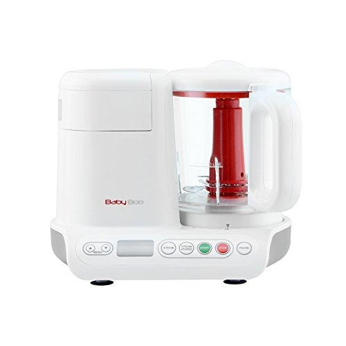 H.Koenig BB80 stoompan en mixer voor het bereiden van babyvoeding, glazen reservoir, zonder toevoeging van bisfenol A, 10 automatische programma's, 950 ml, wit