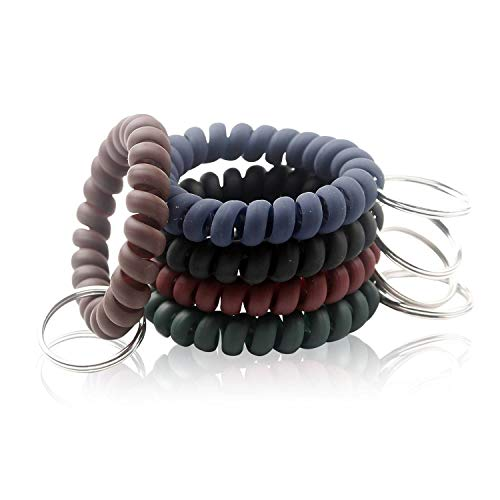 BIHRTC 5 Color Wrist Keychain Plastic Spring Flexible Spiral Wrist Coil Stretchable Wrist band Wristlet Keychain Bracelet Wrist Coil Key Chains Key Holder Key Ring for ID Badge Sauna Outdoor Sport