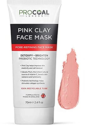 Pink Clay Mask, Australian Kakadu Pore Refining & Brightening Face Clay Mask 70ml by PROCOAL - Instantly Refines Pores & Boosts Skin's Radiance, Ideal For Men & Women, Cruelty-Free - Made in UK