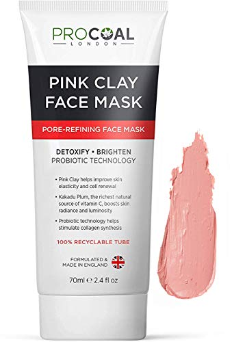 Australian Pink Clay Face Mask 70ml by Procoal - Skincare Face Mask Targets Pores & Brightens Complexion, 100% Recyclable Packaging, Vegan Clay Mask, Cruelty-Free - Made in UK