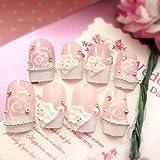24PCS / Set Consejos de uñas completas con niñas Color rosa Flores 3D Diseño de uñas falsas Acrílico Damas Rhinestone Nail Art para novia