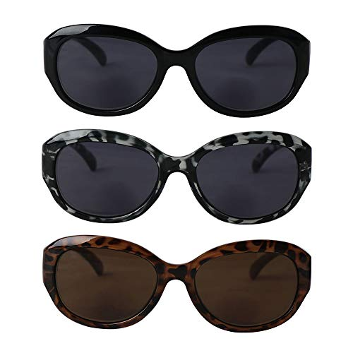 Hyyiyun Cateye Bifocal Reading Sunglasses for Women,3 Pairs Vintage Jackie Oval Oversize Readers