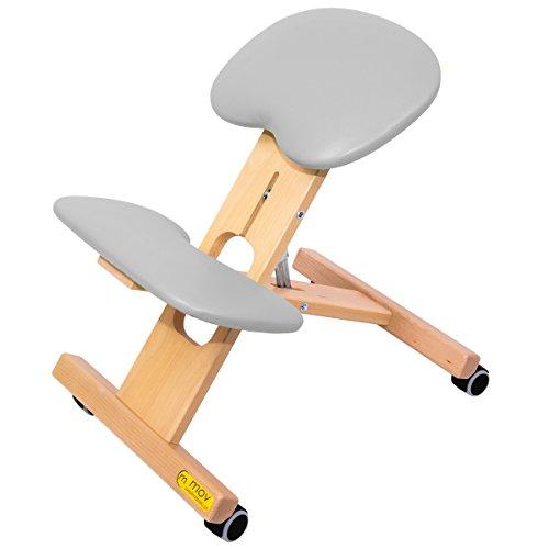ERGO-OFFICE Buche Kniestuhl Kniehocker Sitzhocker Bürohocker Gesundheitsstuhl - höhenverstellbar, bequem gepolstert, rollbar (Grau)