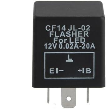 Relais clignotant /à 2 broches pour relais de clignotant universel pour moto Relais /à clignotant /à vitesse r/églable /à 2 broches LED 12V Noir