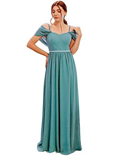 Ever-Pretty Vestito da Damigella Lungo Elegante Stile Impero Chiffon con Scialle Donna Blu Polveroso 46