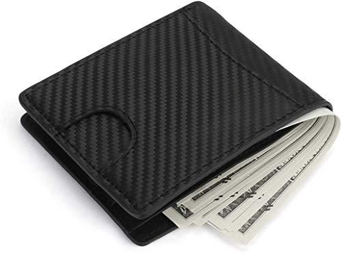 LINGSFIRE - Portafogli da uomo in pelle con tecnologia RFID e tasca portamonete per uomo (nero)