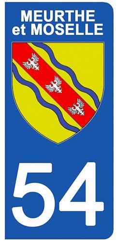DECO-IDEES 2 Stickers pour Plaque d'immatriculation - 54 - Blason MEURTHE ET Moselle- Stickers Garanti 5 Ans