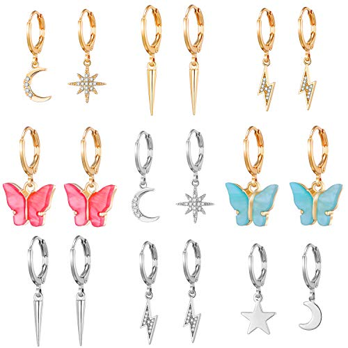9 Pairs Hoop Earrings with Charm for Women Aesthetic Earrings Lesbian Earrings- Butterfly Earrings for Women Pack- Sun Moon and Star Earrings for Girls-Butterfly Dangle Earrings for Women Fashion