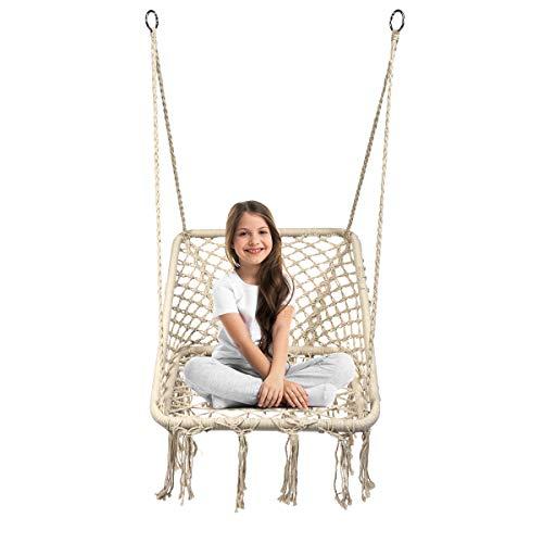 COSTWAY Hammock Swing Chair, Hanging Cotton Rope Macrame Chairs for Outdoor & Indoor, Garden Patio Balcony Living Room Tassels Swing Seat