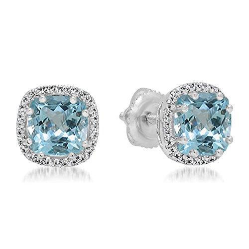 14ct oro blanco Cushion Cut Aguamarina y corte redondo blanco diamante, de Halo estilo Stud Pendientes