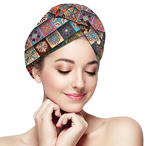 Best Batik Illustrations Microfiber Hair Towel Wrap Super Absorbent Fast Drying Hair Caps With Buttons Bath Loop Fasten Salon Dry Hair Hat