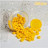 Crafts 200 pcs Octagonal Sealing Wax Beads, Ideal for Decorating Business Card envelopes, Wedding Invitations, Wine Packaging, Gift Ideas, documents, Seals (Bright Yellow)