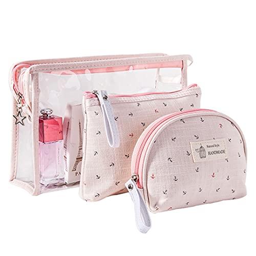 KSIBNW 3 in 1 Beauty Case da Viaggio Borsone Beauty Case Donna Portatile Pochette Trucchi Impermeabile in PVC Trasparente,Borsa da viaggio per il Trasporto Cosmetica per Trucco per Ragazze(rosa)