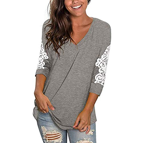 For Sale! kaifongfu Women's Lace Tunic Tops 3/4 Sleeve V-Neck T-Shirt Plus Size Loose Casual Tee Top...