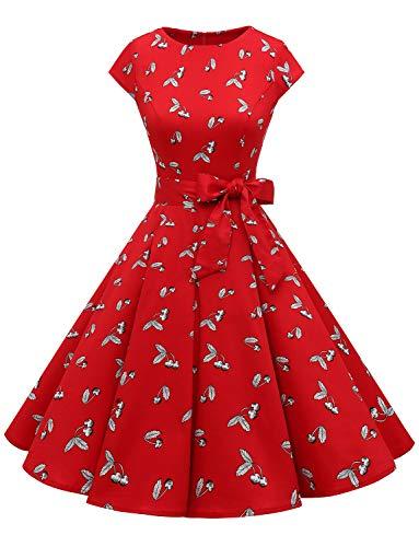 Dressystar Vestido retro años 50 para mujer, de un solo color, estilo rockabilly, swing Color rojo, blanco y cerezo. L