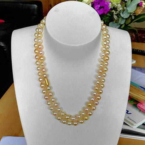 Lange Akoya Perlenkette gold creme Südseefarben Länge 89 cm Wechselschließe