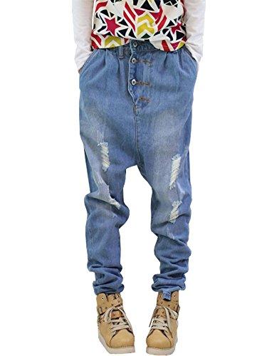 Herren Mollige Jeans Hip Hop Baggy Klassische Jeanshosen Skateboard Hosen Pants