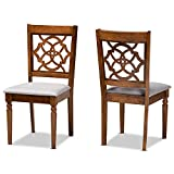 Baxton Studio Set of 2 176-10543-AMZ Dining Chairs, Grey/Walnut Brown