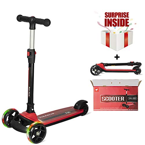 New Olym Kick Scooter for Kids 3 Flashing Wheels with 4 Adjustable Height,One Second Folding Extra Wide Deck Best for Boys Girls Toddlers Ages 3-14 Years (red)